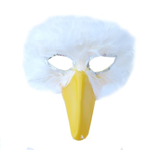 SACASUSA (TM) Large Adult White Feather Bird Mask for Men or Women]()