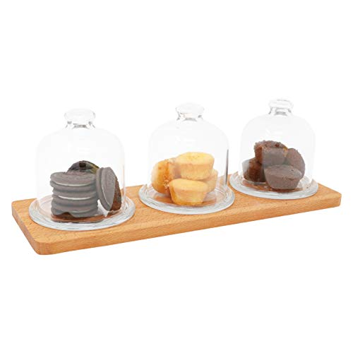 Wooden Serving Tray With 3 Glass Caps | Decorative Cake, Cookie Serveware | Tabletop, Countertop Display for Pastry | Home Accessory For Breakfast, Party