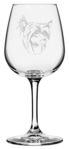 Chinese Crested Dog Themed Etched 12.75oz Libbey Wine Glass