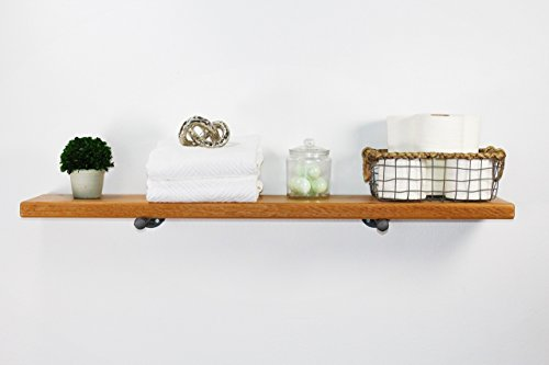 (Industrial Pipe Floating Shelf with Cedar Wood by William Roberts Vintage)