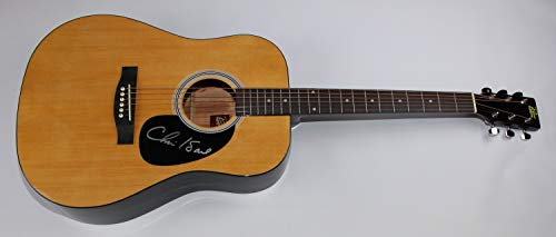 (Chris Isaak Wicked Game Heart Shaped World Signed Autographed Natural Wood Full Size Acoustic Guitar Loa)