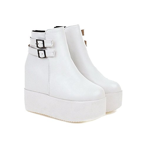 Allhqfashion Women's Round Closed Toe Low-Top High Heels Solid Pu Boots White 0anEnLYn