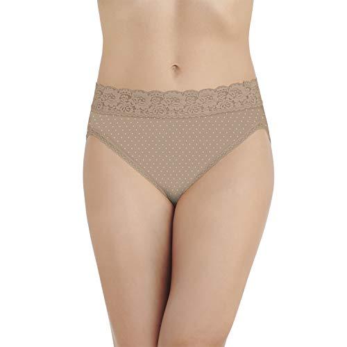 (Vanity Fair Women's Flattering Lace Hi Cut Panty 13280, Honey Dot Print, Medium/6)