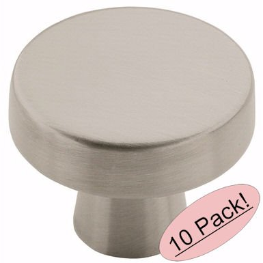 (Amerock BP55270-G10 Blackrock Satin Nickel Round Cabinet Hardware Knob, 1.33 Inch Diameter - 10 Pack)