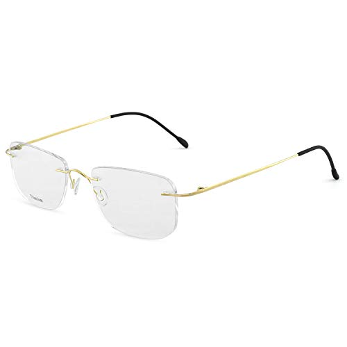 OCCI CHIARI Titanium Men Rectangular Rimless Eyewear Frames Lightweight with Optical Clear Lens 56MM(Gold)