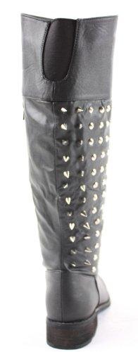 Calf Heel Boots Knee Winter Leg Biker 3 Size Style Low Flat Womens 8 pYXqwW
