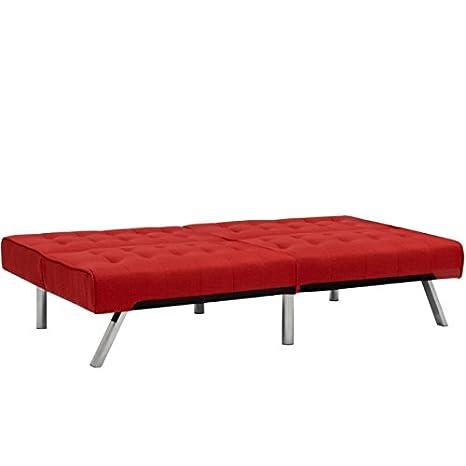 Miraculous Red Convertible Linen Futon Sofa Bed Couch Split Backrest Recliner Lounger Sleeper Home Living Room Bedroom Apartment Studio Modern Space Saving Frankydiablos Diy Chair Ideas Frankydiabloscom