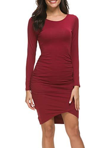 - Missufe Wine Red Dress for Women Long Sleeve Dresses Irregular Hem Pencil Fitted Casual Sundresses Sheath Dress (Long Sleeve Burgundy, Large)