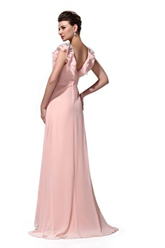 Dresses Lace Queen neck Pink V Women's Sequins Sleeveless Prom Hot Long Chiffon 7vq4q