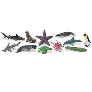 Safari Ltd Ocean TOOB  Comes With 12 Different Hand Painted Animal Toy Figurine Models  Including Sea Lion, Eagle Ray, Starfish, Turtle, Penguin, Octopus, Humpback Whale, Sperm Whale, Moray Eel, Hammerhead Shark, Tiger Shark, and Dolphin  For Ages 5 and Up ()