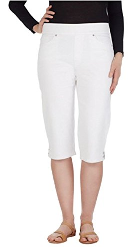 Gloria Vanderbilt Womens Avery Skimmer Pull On Stretch Capri Pant (20W, Prism White) (Plus Skimmer)