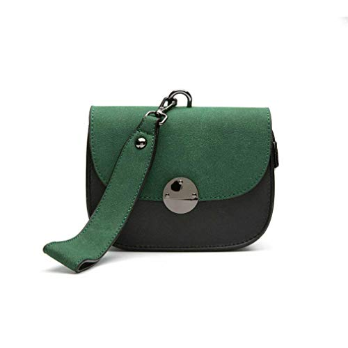 (ANANXILA Fashion Scrub Women Handbag Panelled Shoulder Bag Vintage Saddle Crossbody Bags Green 16x12x7cm )