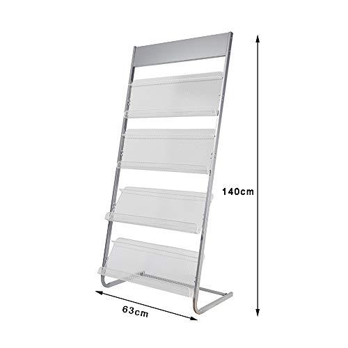 Magazine Rack Aluminum Alloy Brochure Display Rack Book Data Ladder Storage Rack - 4 Layers W63xH140cm by Amelie AI-Magazine organizer (Image #1)
