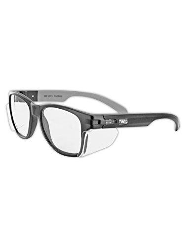 Magid Safety Y50BKAFC Safety Glasses | Classic Hard Coated Safety Glasses with a Black Frame, Clear Lens & Permanent Side Shields - Stylish Design, Anti-Fog Coating, UV Protection (1 - Shields Glasses