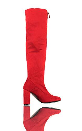 Ikrush Womens Nelli Étirement De La Cuisse Hautes Bottes Bloc Red