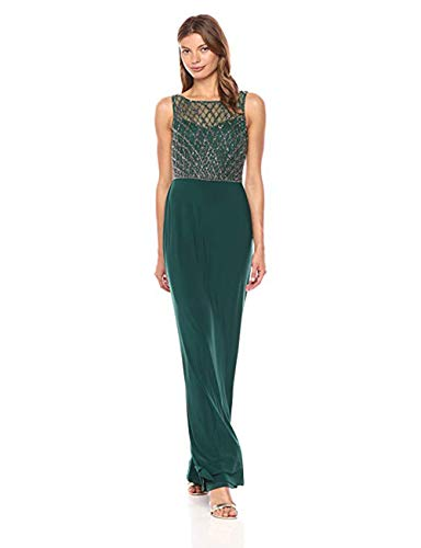 Beaded Bodice Gown - Adrianna Papell Women's Beaded Bodice Gown with Solid Skirt, Hunter, 8