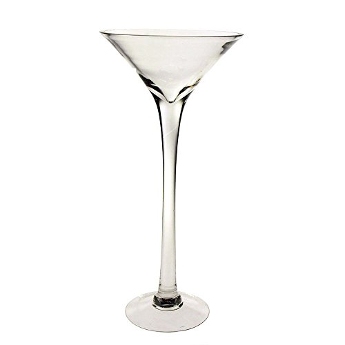 Clear Tall Martini Glass Vase, Height 20-Inch, 4-Pack CASE BULK