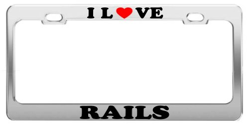I Love RAILS Animals License Plate Frame Car Truck Accessory Gift