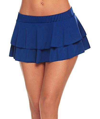 Avidlove Women Role Play Schoolgirl Skirt Lingerie Mini Pleated Skirts(Blue,XXL)