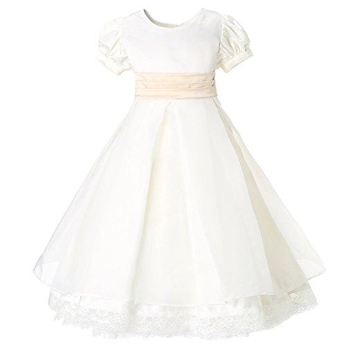Hanakimi A-line / Princess Juliet Ankle-length Communion Dress JMK1627 (100cm, White) by Hanakimi