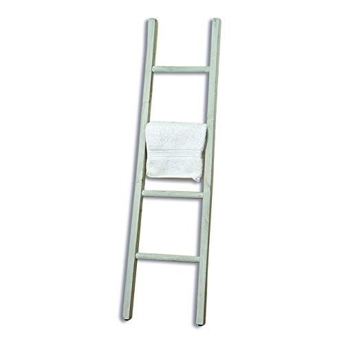 The Farmer's Market Towel Ladder, Handmade, White, Natural Wood, Rustic Style Rack, Approx. 3 Feet 10 Inches Tall, By Whole House Worlds
