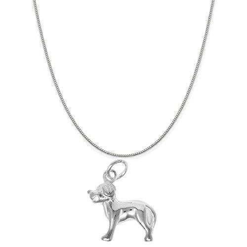 Sterling Silver Labrador Retriever - Sterling Silver Labrador Retriever Dog Charm Pendant on a Sterling Silver Box Chain Necklace, 18