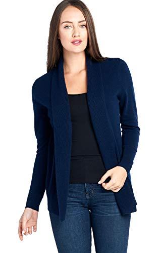 Mariyaab Women's 100% Cashmere Soft Long Sleeve Front Drape Open Cardigan (JB1677, Peacoat, L)