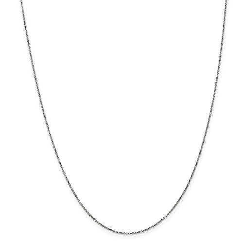 Mia Diamonds 10k White Gold .9mm Polished Cable Chain Necklace - 0.9 Mm Polished Diamond