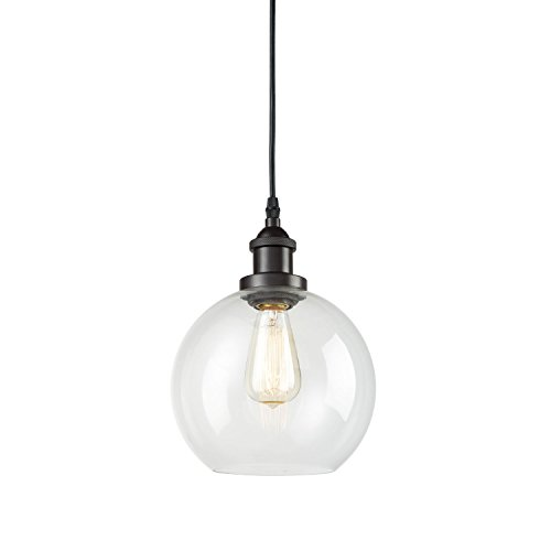 - CLAXY Ecopower Lighting Vintage Clear Glass Globe Pendant Oil Rubbed Bronze Kitchen Hanging Light