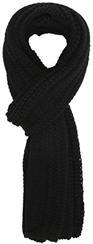 (Simplicity Men / Women Solid Color Cable Stripe Knit Winter Fall Scarf, Black,onesize)