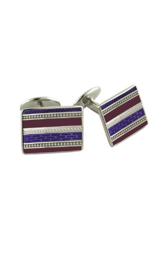 - David Donahue Sterling Silver Rectangle Cufflinks - Purple and Violet (H95517302)