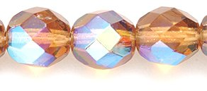 Price comparison product image Preciosa Czech Fire 8mm Polished Glass Bead,  Faceted Round,  Smoke Topaz Aurora Borealis,  75-Pack