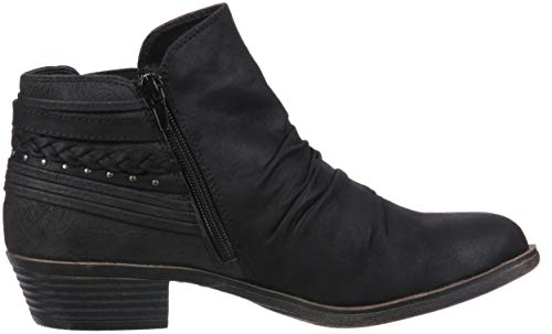 Fab Boot Strap Low Suede Back Heel Details Scrunch Women's Bootie Casual Trendy Ankle Tali Black with Sugar PZO1ff