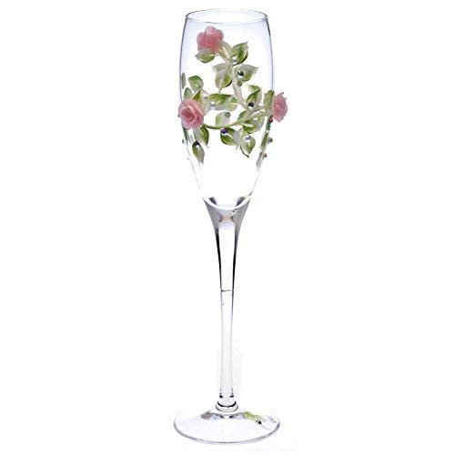 Crystal Hand Painted Champagne Flutes with Green Vine and Pink Roses, Swarovski Crystals and Pearls Set of 2