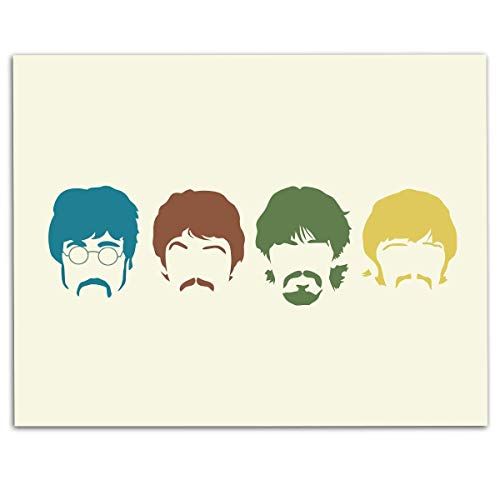 "The Beatles Band- Silhouette Poster Print- 10 x 8"" Wall Print- Ready To Frame- Vintage Song Poster. Home Decor-Studio-Bar-Dorm-Man Cave Decor. Perfect For All Beatles Fan Collections."