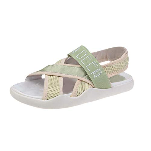 GHrcvdhw Stylish Flat-Soled Front & Rear Strap Sports Sandals Summer Leisure Roman Slippers Women Shoes Green