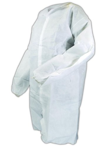 Magid C8L EconoWear Lite N Kool SMS Disposable Lab Coat with Snap Front, Large, White (Case of 50) by Magid Glove & Safety (Image #3)