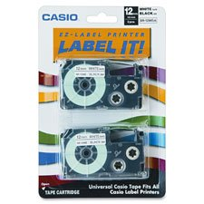 Tape Cartridge,18 mm, Black/White, Sold as 1 Package, 2 Each per Package