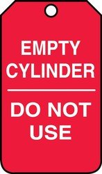Accuform MGT202CTP Cylinder Status Tag, Legend''EMPTY CYLINDER - DO NOT USE'', 5.75'' Length x 3.25'' Width x 0.010'' Thickness, PF-Cardstock, White on Red (Pack of 25)