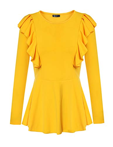 The Sophisticated Lady T-shirt - Ladies Ruffle Top Crew Neck Long Sleeve Pure Color Peplum Shirt Blouse Yellow XL