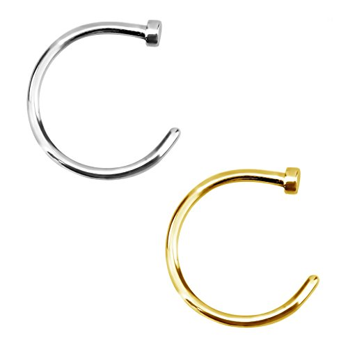 Forbidden Body Jewelry 18g 10mm Silver & Gold Tone Surgical Steel Perfect Basics Comfort Fit Nose Hoops (2pcs)