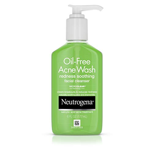 Salicylic Acid Face Wash - Neutrogena Oil-Free Acne and Redness Facial Cleanser, Soothing Face Wash with Salicylic Acid Acne Medicine, Aloe, and Chamomile to Reduce Facial Redness, 6 fl. oz