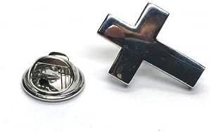 Ashton and Finch Insignia de pasador de solapa con cruz cristiana chapada en rodio