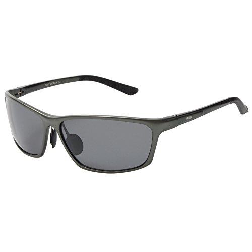 FSK Sunglasses for Men Polarized Sports UV400 Metal Mens Fashion Retro Wayfarer Driving Sunglasses (Gray frame Gray lens)