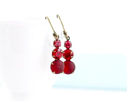 Brass Crystal Ring - Red Crystal Vintage Jewel Trio Drop Earrings on Brass Ear Wires