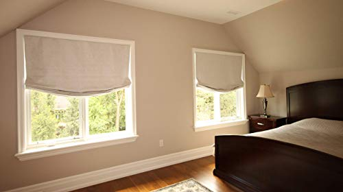 LOGANOVA Quick Install Hypoallergenic Faux Linen Roman Shade for Windows Easy to Dry Clean. Custom Made.