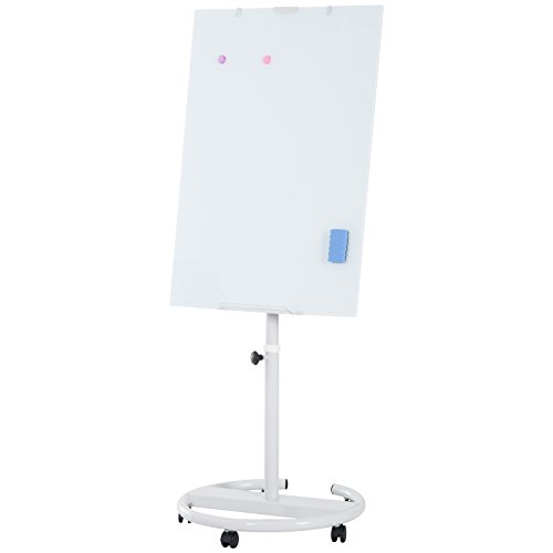 """Vinsetto 28""""x40"""" Magnetic Height Adjustable Rolling Whiteboard Easel With Wheels"""