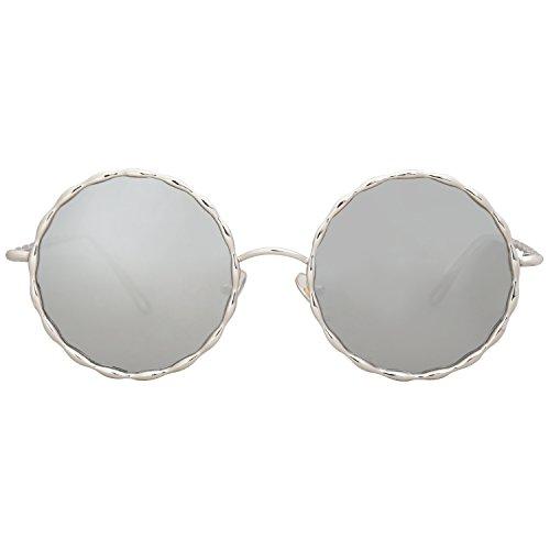 SOJOS C7 Lente Metal Espejo SJ1090 Trenzado De Plateado Marco Gafas Marco Mujer Redondo Plateado Para Sol OOwr0vq