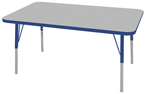 ECR4Kids 30'' x 48'' Rectangular Activity Table, Gray Top/Blue Edge, Standard Legs/Swivel Glides, Six 12'' Blue School Stack Chairs by ECR4Kids
