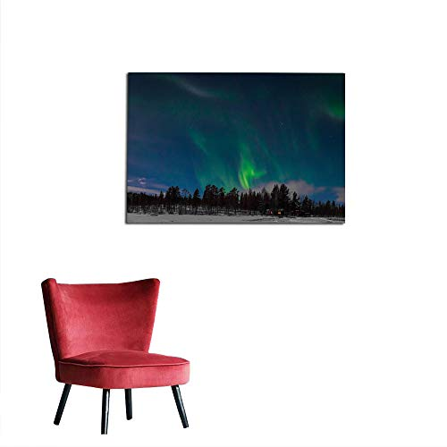 kungfu Decoration Photographic Wallpaper Northern Lights (Aurora Borealis) Over The Cabin in The Woods in Arctic Sweden Wall Poster W23.6 x L15.7